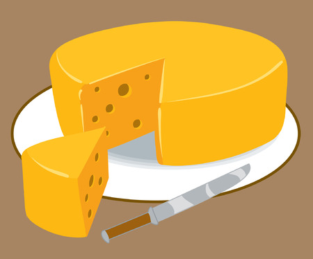 Une illustration d'un bloc rond de fromage Banque d'images - 35459626