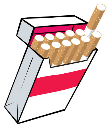 cigarette pack: An illustration of a box of ciagarettes. Illustration