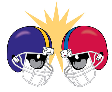 football helmets of apposing teams crashing together 版權商用圖片 - 35459630