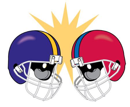 football helmets: football helmets of apposing teams crashing together