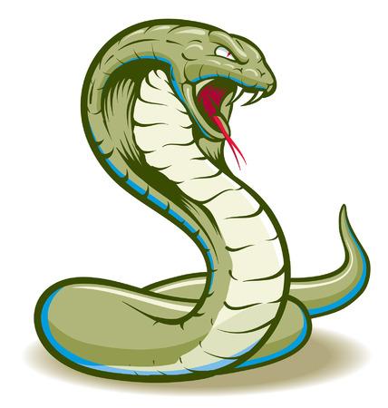 serpiente caricatura: Cobra serpiente enroscada y lista para atacar mostrando los colmillos y la lengua