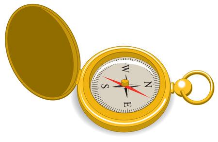 An Illustration of a gold vintage pocket compass 版權商用圖片 - 35459632