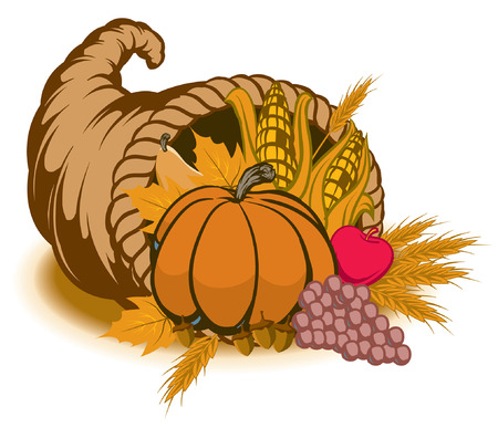 An Illustration of a cornucopia for fall