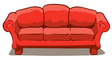 큰 편안한 빨간 소파의 그림 일러스트