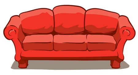 An Illustration of a big comfy red couch