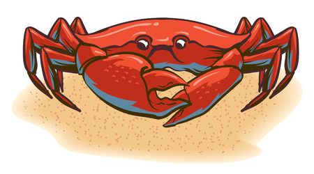 An Illustration of a crab walking along the beach