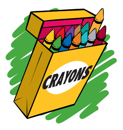 artboard: An illustration of a box of crayons normal colors. Illustration