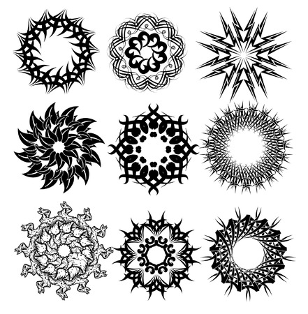 Black and white decorative circles spikes 向量圖像