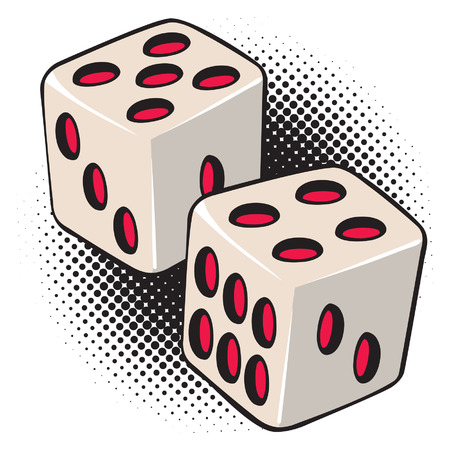 An Illustration of a pair of white and red dice