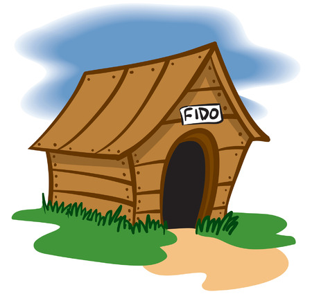 cartoon dog: An Illustration of a Wooden Dog house