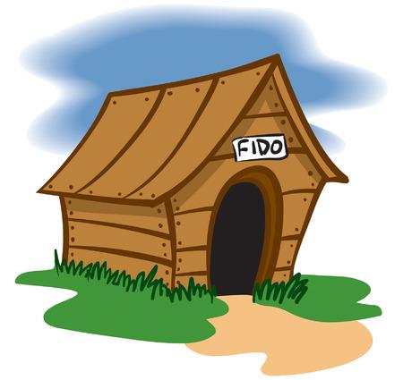 Een illustratie van een houten huis Hond