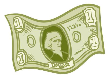 A Fun Cartoon green one dollar bill