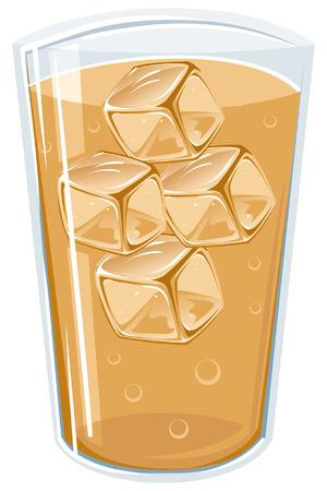氷と飲料の完全なコップのイラスト  イラスト・ベクター素材