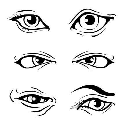 Various Illustrated human eyes