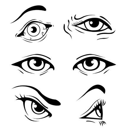 Divers yeux humains illustrés Banque d'images - 35459785