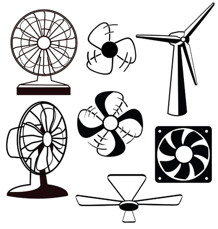 Various spinning ventilators and fans 向量圖像