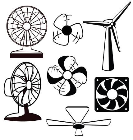 spinning: Various spinning ventilators and fans Illustration