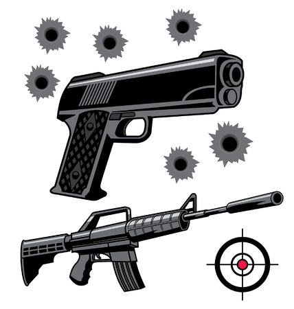 Various firearms weapons and graphics Illustration