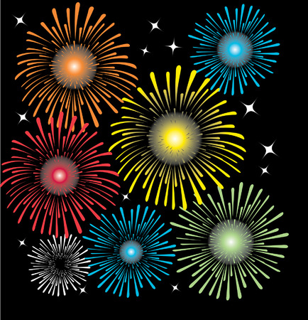 Various colorful fireworks explosions