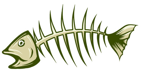 dead fish: An Illustration of fishbone green and white
