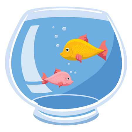 2 つの魚と泡の金魚鉢のイラスト  イラスト・ベクター素材
