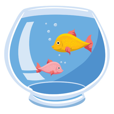 An Illustration of a fishbowl with two fish and bubbles Vettoriali