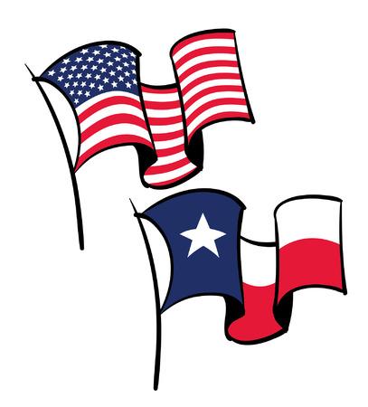 us flag grunge: USA and Texas waving flags Illustration