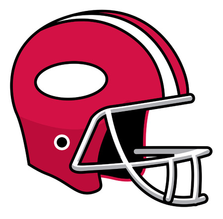Cartoon football red team sport helmet