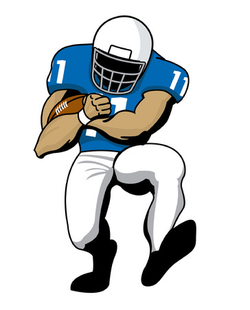 Football player running back running with football Illustration