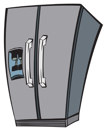 cold storage: An Illustration of a stainless steel fridge