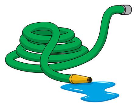 Una ilustración de un verde enrollada manguera de jardín