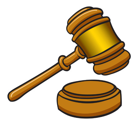 An illustration of a wooden brown Gavel Vectores
