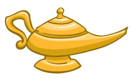 genio de la lampara: Una ilustración de un genio de la lámpara de oro Vectores