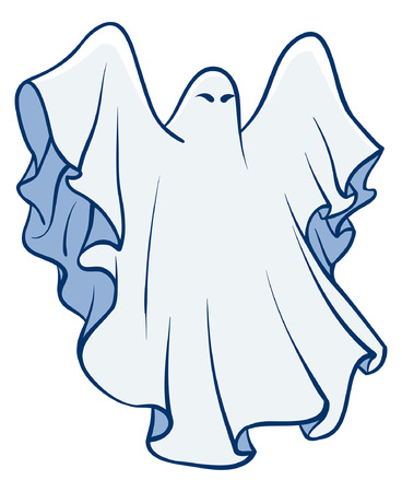 poltergeist: An Illustration of a White sheet ghost