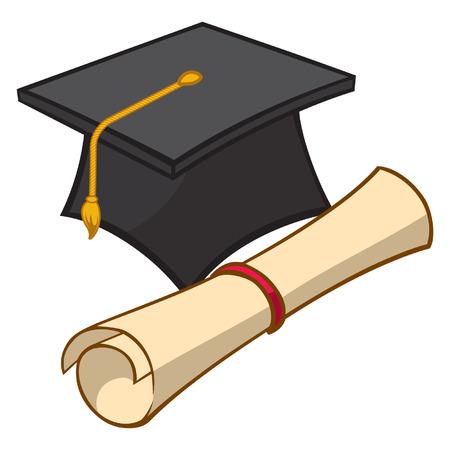 졸업 모자 및 졸업장의 일러스트 레이션