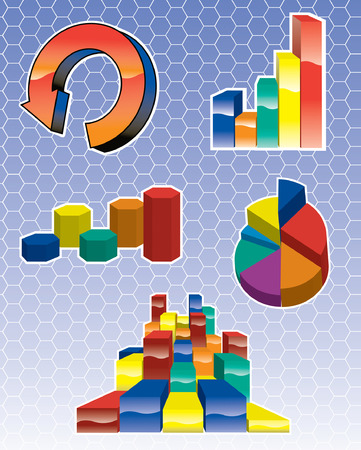 Various Graph Icons charts illustrator 8 向量圖像