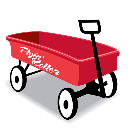 赤い子供手のワゴン、ローラー、金属を飛んで