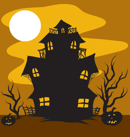 An Illustration of a Haunted House in the moonlight 向量圖像
