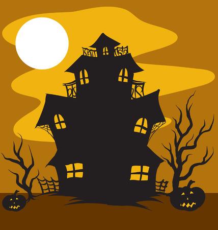 Une illustration d'une maison hantée au clair de lune Banque d'images - 35459984