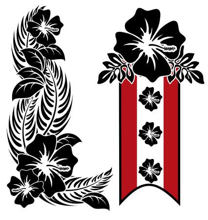 다양한 히비스커스 하와이 열대 꽃 일러스트