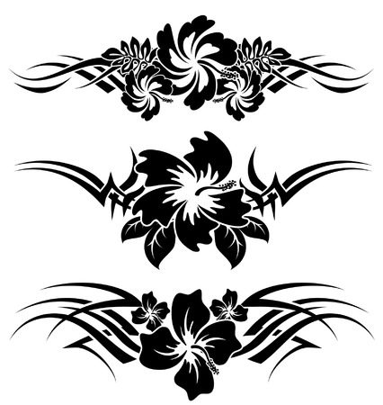 stencil art: Various hibiscus hawaiian tropical flowers