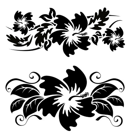 다양한 히비스커스 하와이 열대 꽃 흑백