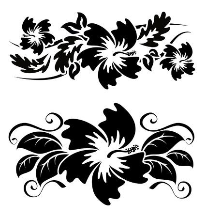 Diverse hibiscus Hawaiiaanse tropische bloemen zwart-wit