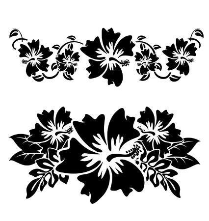 다양한 히비스커스 하와이 열대 flowersblack과 흰색
