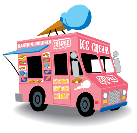 food illustration: Colorful and Playful Ice Cream Truck with Ice Cream cone on top Illustration