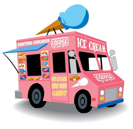comiendo helado: Colorido y juguetón camión del helado con el cono de helado en la parte superior