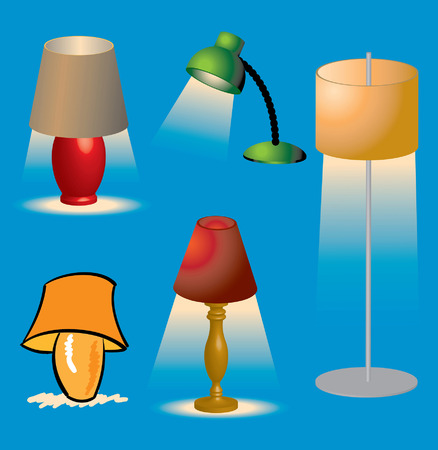 lighting fixtures: Various lighting fixtures and brightly lit Lamps