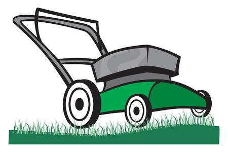 잔디에 잔디 깎는 기계의 그림