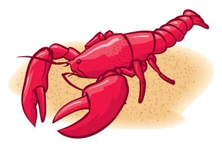 An Illustration of ared lobster on the beach Vector