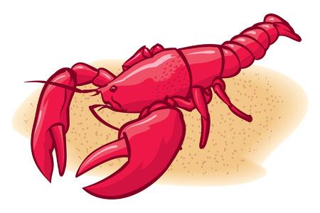 Une illustration du homard ARED sur la plage Banque d'images - 35460059
